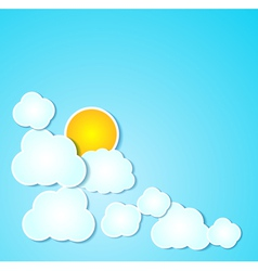 Paper clouds with sun background on blue vector image