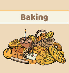 pastries bakery poster bread cakes vector image