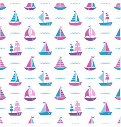 pattern with boats and waves vector image
