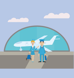 pilot and the stewardess at the airport vector image