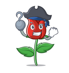 Pirate red rose character cartoon vector