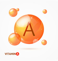 Realistic detailed 3d vitamin a background card vector