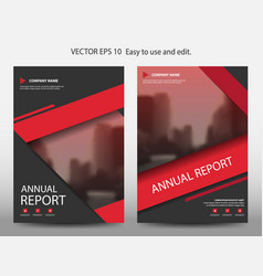 Red abstract annual report brochure design vector