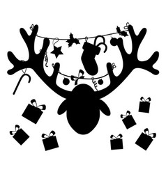 reindeer head with christmas gift boxessilhouette vector image