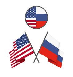 russian american crossed flags vector image