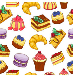 Seamless pattern doodle hand drawn cakes and vector