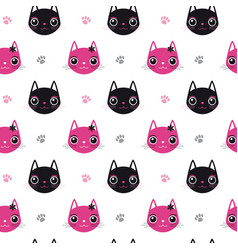 seamless pattern face cat vector image