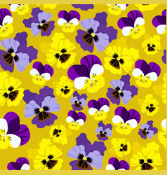 seamless pattern with pansies on yellow vector image