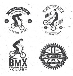 set bmx extreme sport club badge vector image