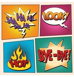 Set comic pop art bubbles with text vector