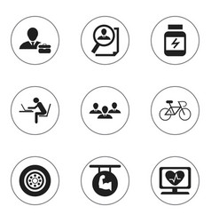 Set of 9 editable complex icons includes symbols vector