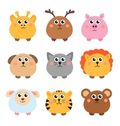 Set of cute animals rounded shape Round animals vector
