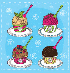 set of different scoop of ice cream vector image
