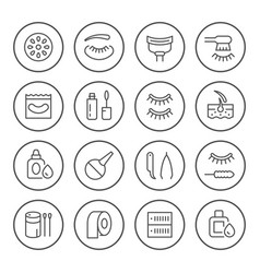 Set round line icons eyelash extension vector