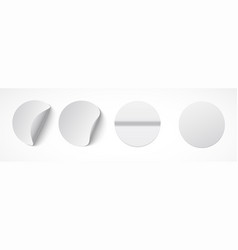 set round white sticky labels with bent edges vector image