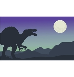 Silhouette of spinosaurus at the night vector image