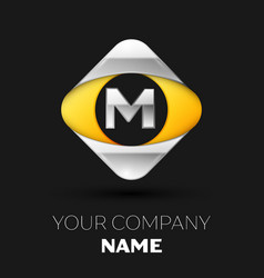 silver letter m logo in the silver-yellow square vector image