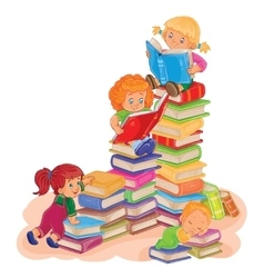 Small children reading a book vector