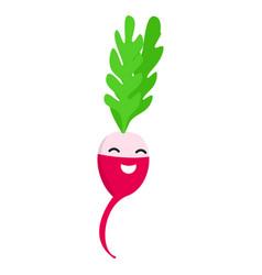 smile radish icon flat style vector image