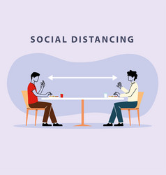 Social distancing in restaurant men eating on vector