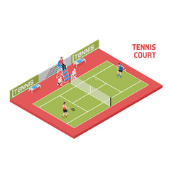 Sport tennis court isometric vector