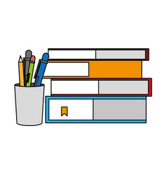 stacked books and pencils supplies vector image
