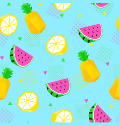 Summer seamless pattern watermelon pineapple vector