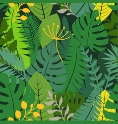 summer season exotic leaves seamless pattern vector image