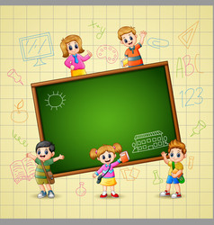 the children goes to learn vector image