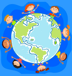 The world children in a circle kids smile white vector