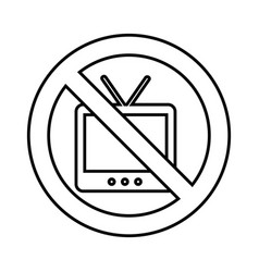 Tv with denied sign vector