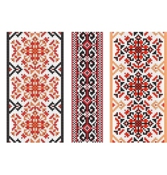Ukrainian folk art Set of traditional embroidery vector image