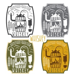 Vintage labels of whiskey with home alcohol vector