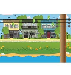 Water flows through village vector