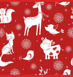 winter seamless pattern with snowflakes deer fox vector image