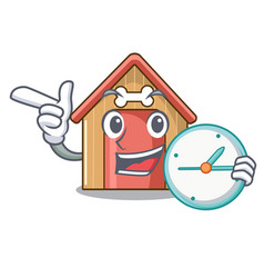 with clock cartoon dog house and bone isolated vector image
