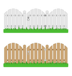 wooden fence with gate vector image