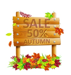 wooden sign with autumn leaves vector image