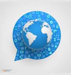 world globe with app icons in form chat bubble vector image