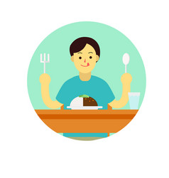 Young man wear private dress prepare to eat vector