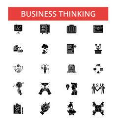 business thinking thin line icons vector image vector image