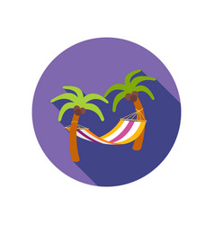 hammock with palm trees on beach icon vacation vector image