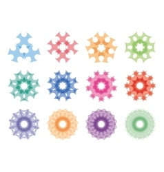 Round ornaments set Abstract creative flowers vector image vector image