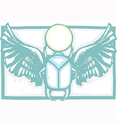 Winged scarab color vector