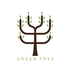 abstract icon design template of green tree vector image