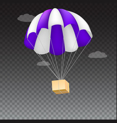 icon of package flying on parachute isolated on vector image vector image