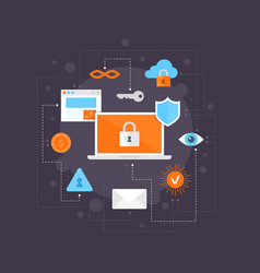 internet security flat icons set infographic vector image vector image