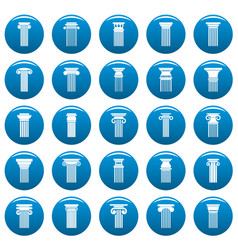 ancient columns icons set blue simple vector image