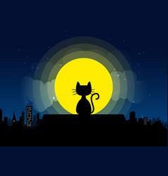 cat sitting on a roof background of the moonlight vector image vector image