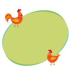 cute funny couple of farm rooster and hen two vector image